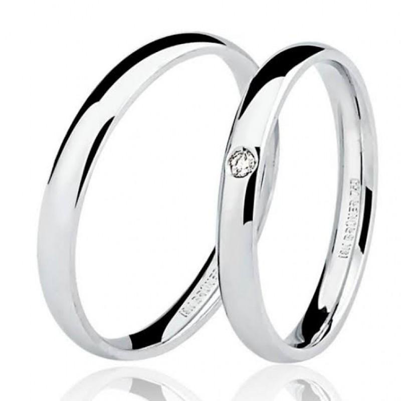Aliança de Casamento de Ouro Branco Pirambóia - Aliança de Casamento Simples