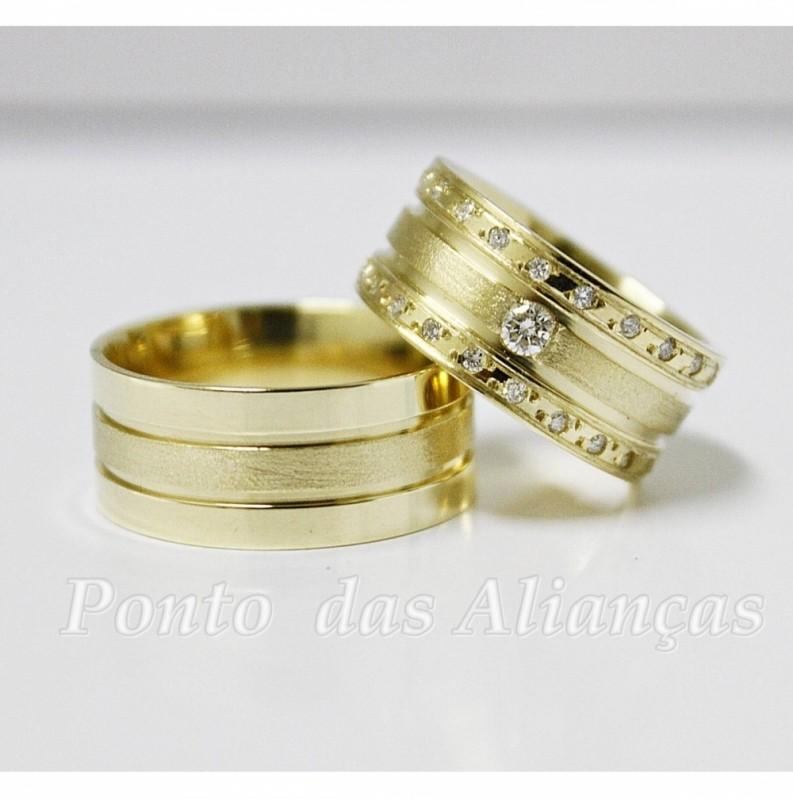 Aliança de Casamento Grossa sob Encomenda Bixiga - Aliança de Casamento Ouro Branco