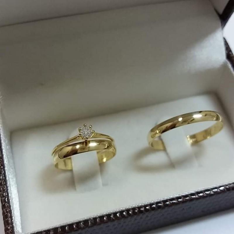 Aliança de Casamento Simples Cidade Patriarca - Aliança de Casamento de Ouro Branco