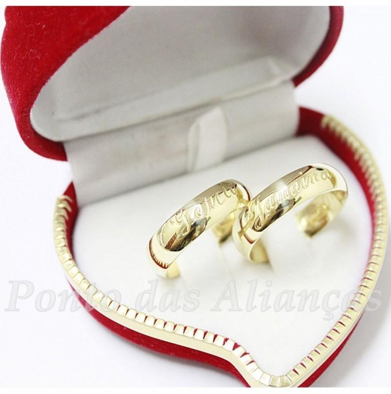 Aliança de Casamento Tradicional sob Encomenda Tatuapé - Aliança de Casamento de Ouro Branco