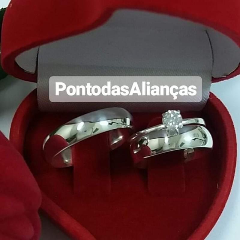 Aliança de Compromisso Simples Jardim Iguatemi - Alianças de Compromisso com Nome Gravado