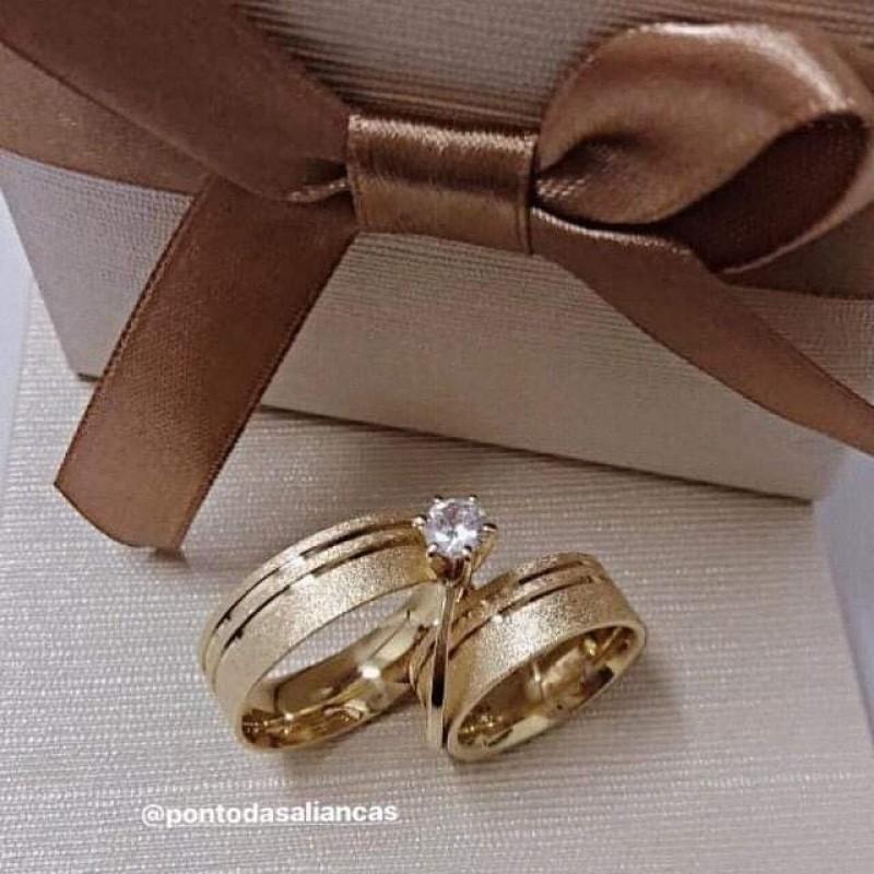 Aliança de Noivado de Ouro Diadema - Aliança de Noivado Fina