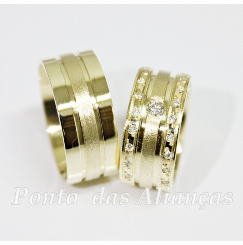 Alianças de Casamento Luxo Cidade Patriarca - Aliança de Casamento de Ouro Branco
