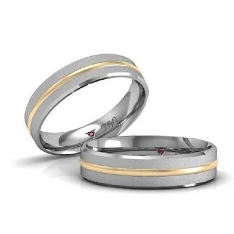 Alianças de Casamento Ouro Branco Brás - Aliança de Casamento Lisa