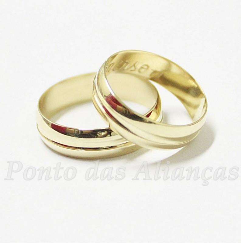 Alianças de Casamento Simples Vila Carrão - Aliança de Casamento Ouro Branco