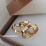 aliança de noivado ouro rose Glicério