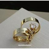 alianças de noivado ouro 18k Mauá