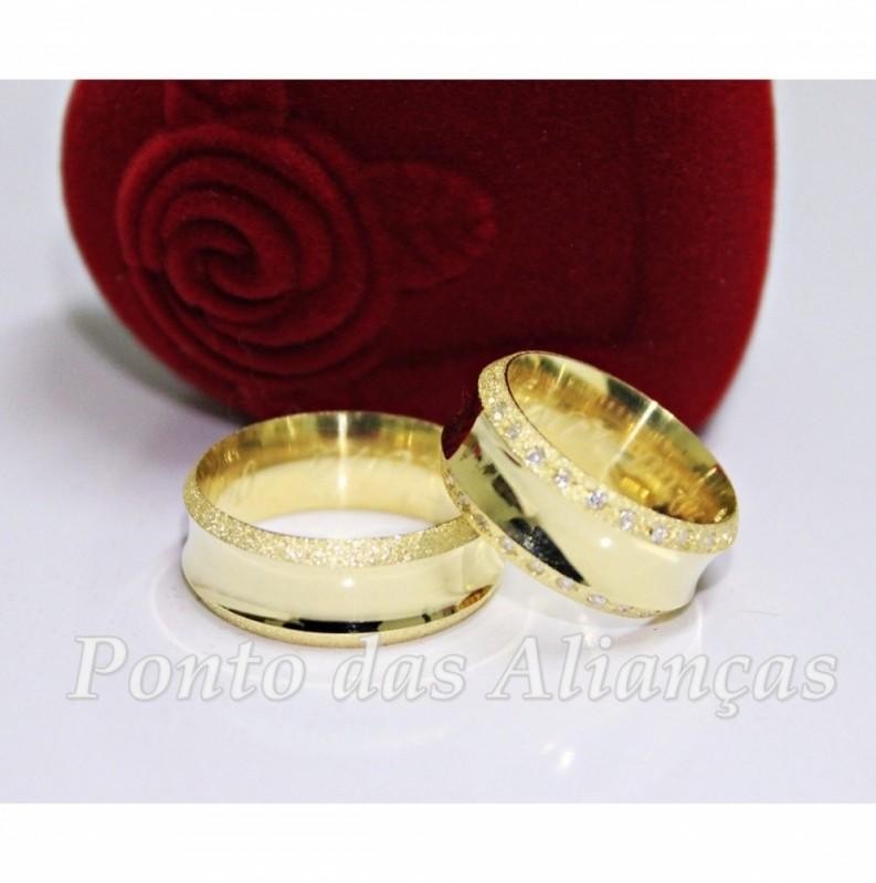 Valor da Aliança de Casamento com Pedra Jardim Iguatemi - Aliança de Casamento Moderna