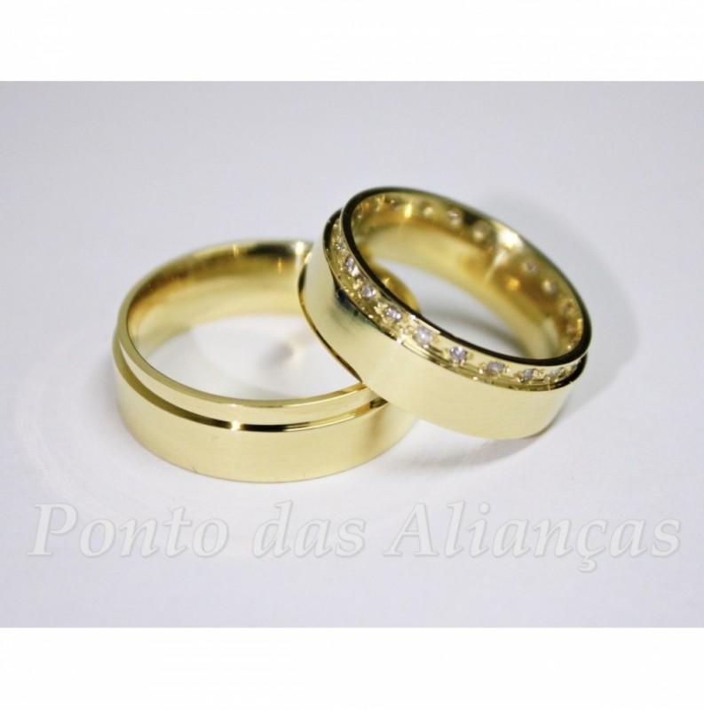 Valor da Aliança de Casamento Luxo Cidade Patriarca - Aliança de Casamento Ouro Branco